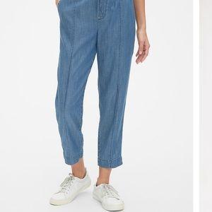Pin tuck denim drawstring pants in TENCEL